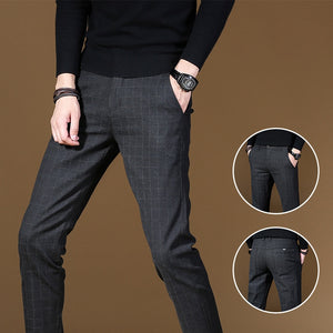 2020 New Business Casual Straight Black Grey Pants Men Cotton Slim Chinos Fashion Trousers Male Brand Clothing Plus Size 38