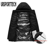 URSPORTTECH High Quality Winter Heated Jackets Mens Down Parka Men Women Warm Outdoor Coat USB Electric Heating Hooded Jackets
