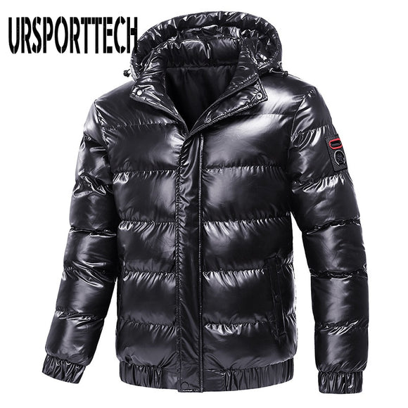 2020 New Bright Leather Winter Men's Jacket Casual Parka Outwear Waterproof Thicken Warm Stand Collar Outwear Coat Men Clothing