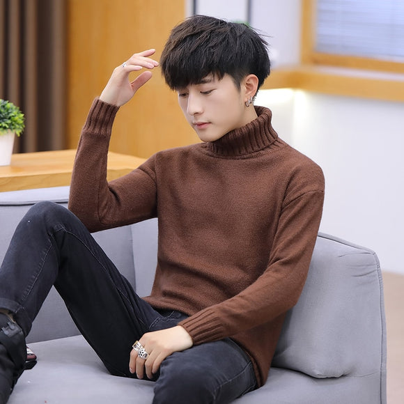 Men's sweater men's spring and autumn new casual high-neck sweater Korean style trendy personality handsome sweater