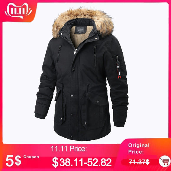 Winter Jacket Men Parka Faux Fur Collar Thick Warm Cotton Parkas Jacket Coat Men Hooded Pockets Outwear Winderbreaker Parka