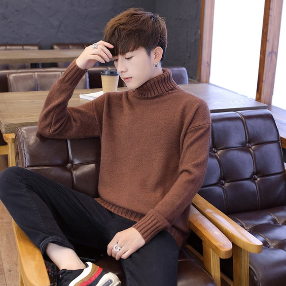 2020 autumn and winter men's sweater thicken winter new trend turtleneck sweater Korean hedging youth sweater