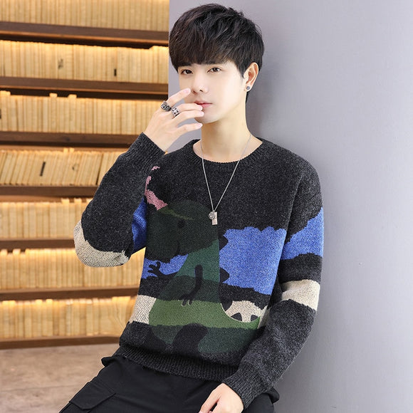 2020 new cool animated little dinosaur print knit sweater men's Korean young pullover sweater hot sale