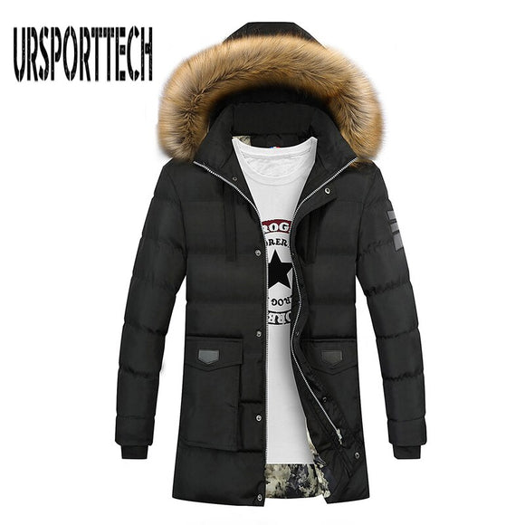 Winter Coat Men Long Thicken Warm Parka Fashion Cotton-padded Faux Fur Hooded Jacket Coat Men Outwear jaqueta masculina inverno