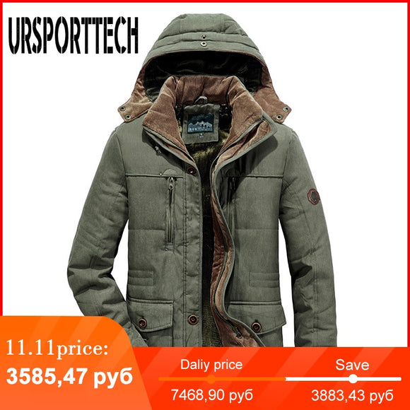 URSPORTTECH Brand Winter Jacket Men Parka Thick Warm Plus Velvet Winter Coat Men Outwear Hooded Jackets and Coats Plus Size 7XL