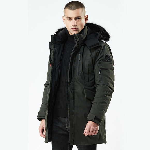 URSPORTTECH Winter Jacket Men Parka Fur Collar Hooded Jacket Fashion Thick Warm Medium Long Coat Jacket male parka coat Green