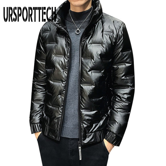URSPORTTECH New Quality Down Jacket Men Winter Thick Warm 80% White Duck Down Hooded Man Coat Jaqueta Masculino Chaqueta Hombre