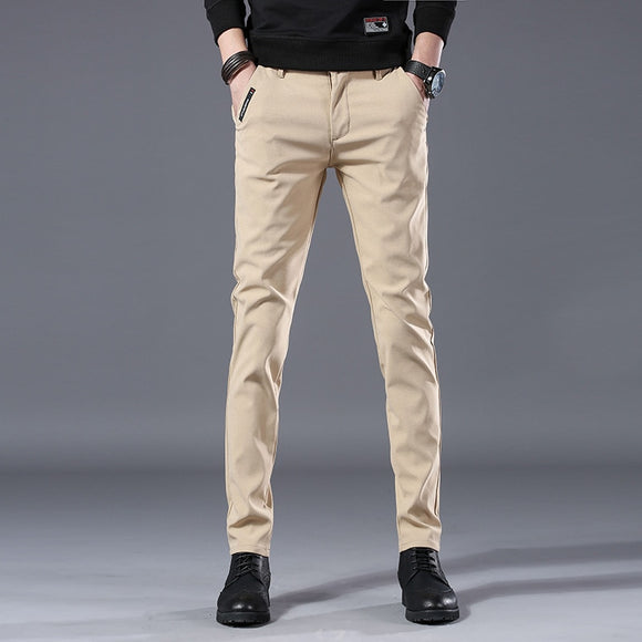 Casual Pants Men Slim fit Straight-Cut Stretch Pants Middle-aged Business Casual Pants Male Light Pants
