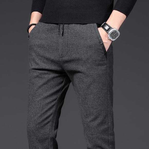 Pants Men Business Straight Cotton Trousers Stretch Man Elastic Slim Fit Casual Big Plus Size 38 Black Grey Blue Pant
