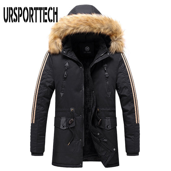 Winter Jacket Men Long Parkas 2020 New Men's Fur Collar Hooded Cotton Padded Male Velvet Warm Jacket Outdoor Windproof Overcoats