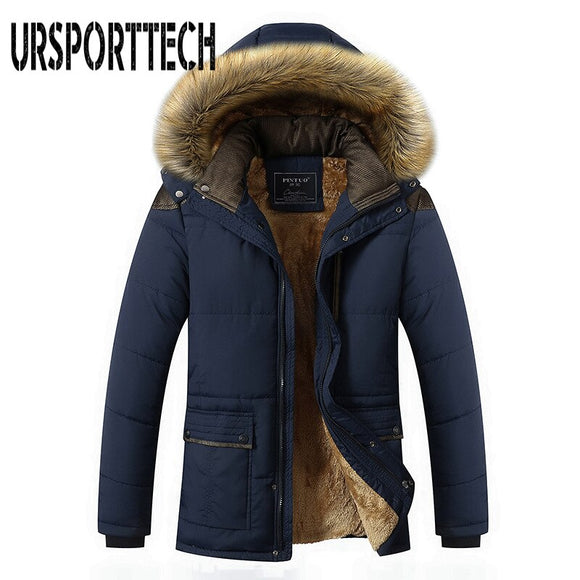 M-5XL Fur Collar Hooded Men Coat Winter Jacket 2019 New Fashion Warm Wool Liner Man Jacket and Coat Windproof Male Parkas Casaco