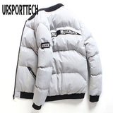 Winter Jacket Men Baseball Collar Letter Print Thick Warm Parka Korean Fashion Handsome Short Cotton Padded Jacket Outwear Coats