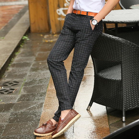 2019 New England Plaid Pants and Dress Pants Men Sanding Male Trousers Men's Spring Autumn Long Pants Black Blue Khahi Grey