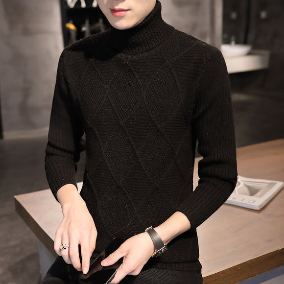2020 new Male turtleneck men's knitted sweater blouse pullover jumper sweaters for men knitwear Cotton Male Sweater