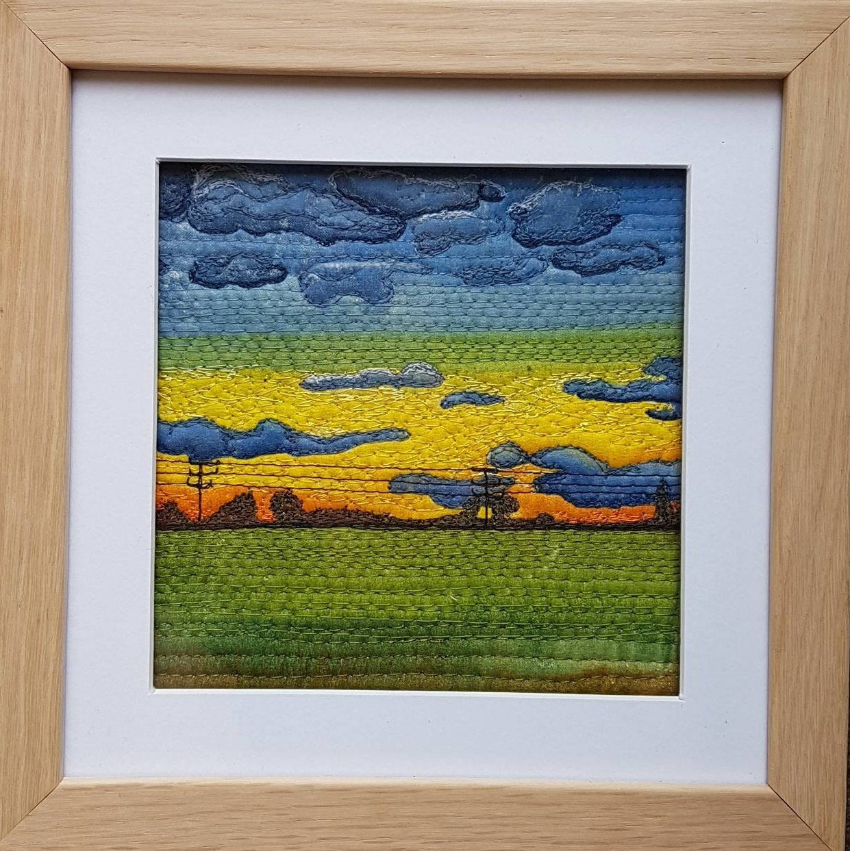 Ink and stitched Textile landscapes - Sunsets, Sunrises and storms