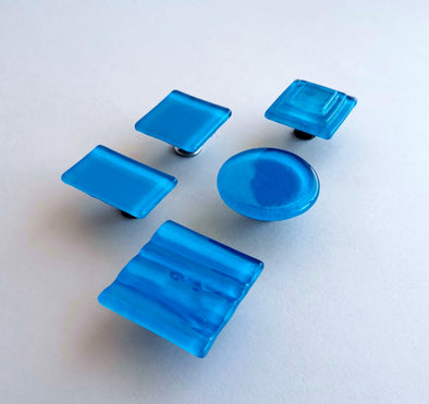Modern Azure Matte Blue Fused Glass Knob. Deep Blue Glass Knob. Matte Blue Cabinet Handle 0046