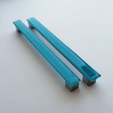A Set of 2 Large Glass Pulls in Lake Blue. Matte Blue Glass Pull. Blue Fused Glass Cabinet Pull 0048