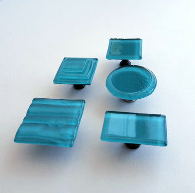 Modern Matte Lake Blue Fused Glass Knob. Matte Blue Glass Knob. Lake Blue Cabinet Handle 0048