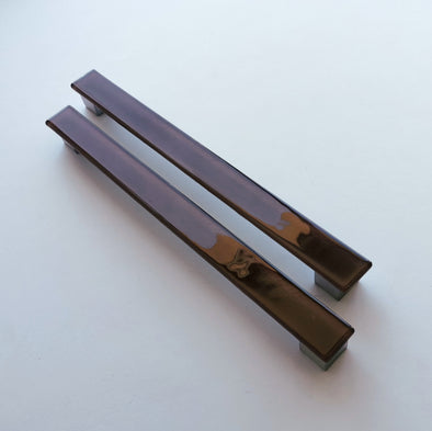 A Set of 2 Large Glass Pulls in Milk Chocolate Brown. Brown Glass Pull. Large Chocolate Brown Fused Glass Pull 0045