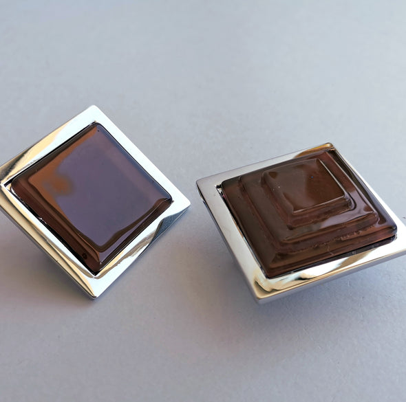 Pop-up Milk Chocolate Brown Glass Knob. Artistic Chocolate Brown Furniture Glass Knob 0045