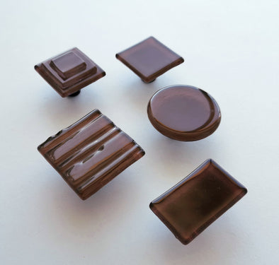 Modern Milk Chocolate Brown Fused Glass Knob. Chocolate Brown Glass Cabinet Handle 0045