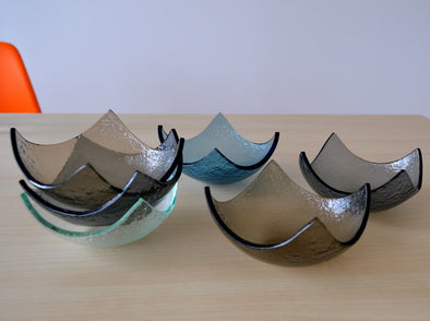 Set of Six Fused Glass Small Bowls. Small Fused Glass Bowl. Small Dessert Bowls. Small Bowls Set of Six