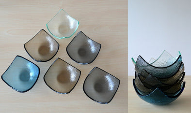 Set of Twelve Fused Glass Small Bowls. Small Fused Glass Bowls. Small Dessert Bowls. Minimalist Tableware