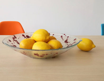 Jackson Pollock Inspired Modern Minimalist Fused Glass Fruit Bowl. Designer Glass Fruit-Bowl