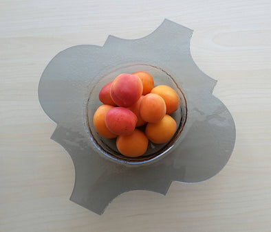 Modern Fused Glass Grey Fruit Bowl. Small Graphite Glass Fruit-Bowl