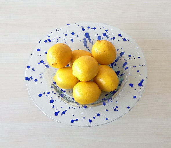 Modern Minimalist Fused Glass Fruit Bowl. Blue Accents Centerpiece Fruit-Bowl