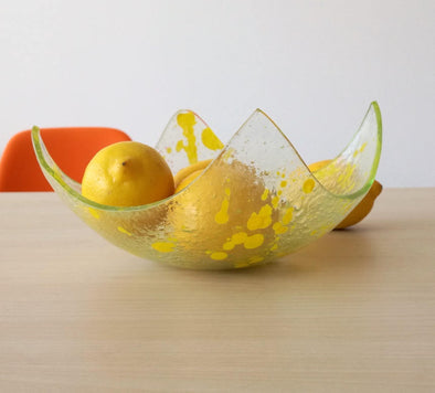 Modern Fused Glass Fruit Bowl. Sunny Yellow Accents Glass Fruit-Bowl M