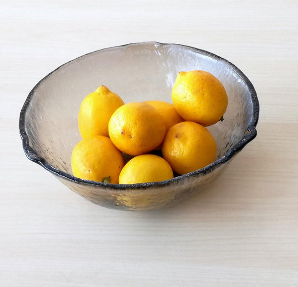 Modern Minimalist Fused Glass Fruit Bowl. Centerpiece Fruit-Bowl. Designer Glass Bowl