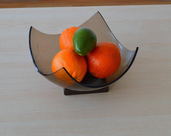 Modern Minimalist Fused Glass Fruit Bowl. Bronze Fruit-Bowl on a Metal Stand L