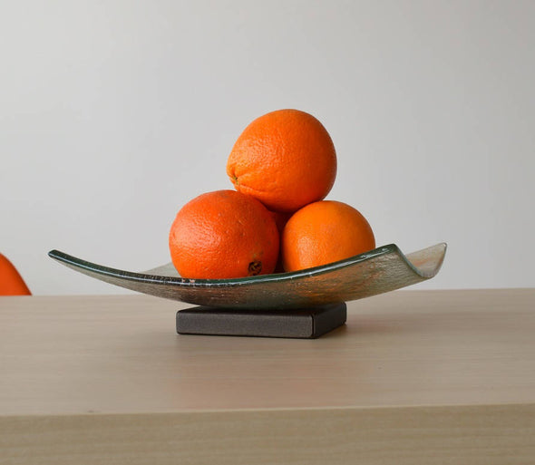 Modern Fused Glass Fruit Bowl on a Metal Stand. Orange Brown Glass Fruit-Bowl L