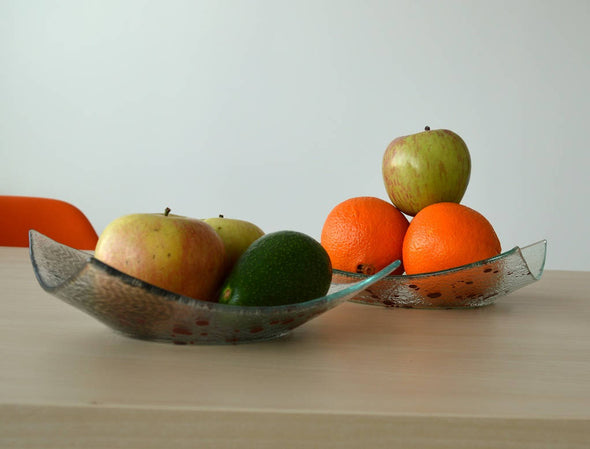 Set of 2 Modern Fused Glass Fruit Bowls. Minimalist Fused Glass Centerpiece Fruit Bowls L&M