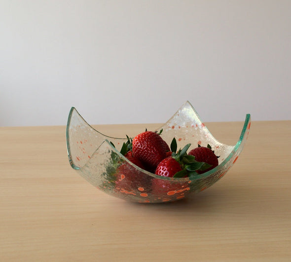 Modern Fused Glass Fruit Bowl. Salmon Splash Accents Glass Fruit-Bowl M