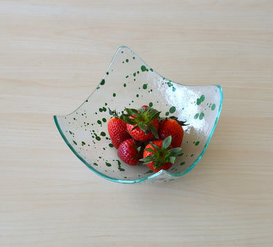 Modern Fused Glass Fruit Bowl. Green Accents Glass Fruit-Bowl M