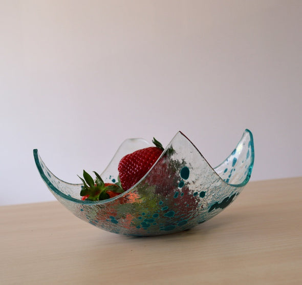 Modern Fused Glass Fruit Bowl. Turquoise Accents Glass Fruit-Bowl M