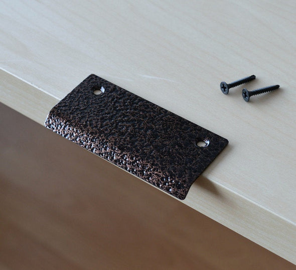 Modern Textured Black And Copper Cabinet Fringer Pull. Wrought Copper Cabinet Tab Pull 930