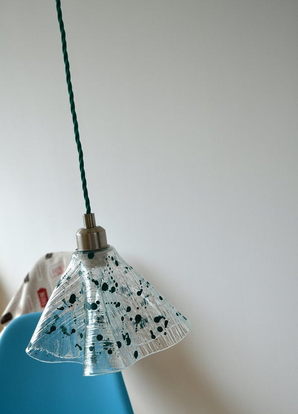 Single Fused Glass Hanging Handkerchief Lamp. Contemporary Lighting Fixture. Countertop Lamp