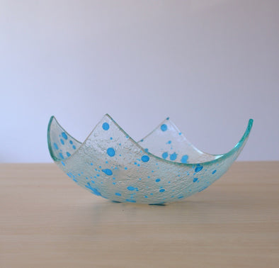 Modern Fused Glass Fruit Bowl. Sky Blue Accents Glass Fruit-Bowl M