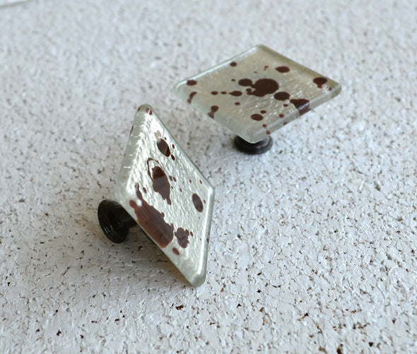 Dark Brown Jackson Pollock Inspired Fused Glass Knob. Chocolate Brown Glass Knob