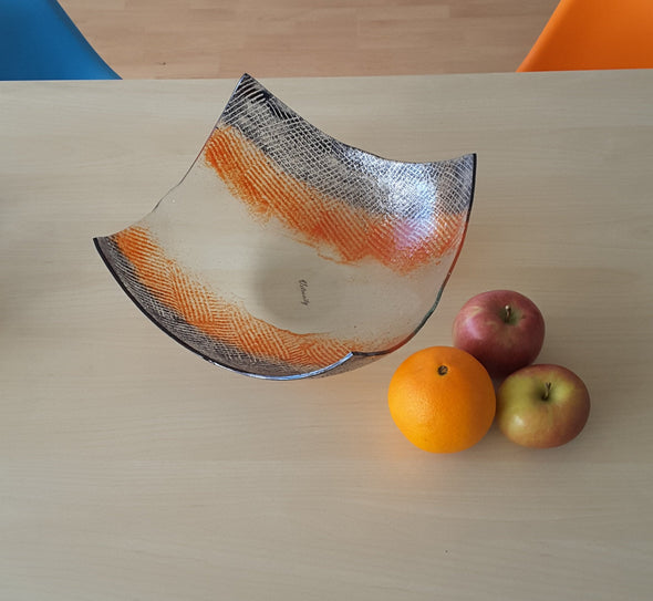 Modern Minimalist Fused Glass Fruit Bowl. Orange Grey Designer Glass Fruit-Bowl XXL