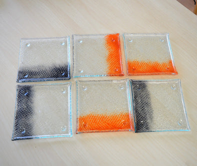 Set of Six Fused Glass Dessert Plates. Small Dessert Glass Plates in Orange and Graphite