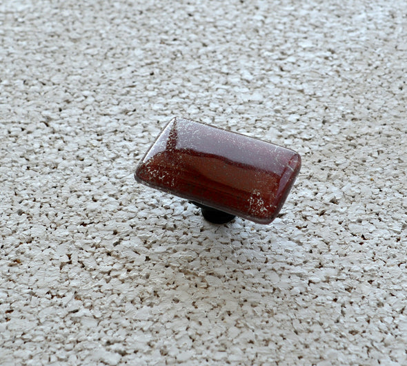 Reddish Brown Fused Glass Knob. Brown Glass Knob. Brown Fused Glass Cabinet Handle