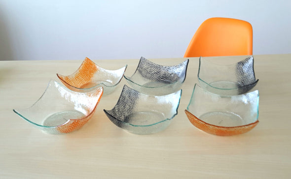 Set of 6 Fused Glass Salad Bowls With Orange And Graphite Ornaments. Set of 6 Cereal Glass Bowls