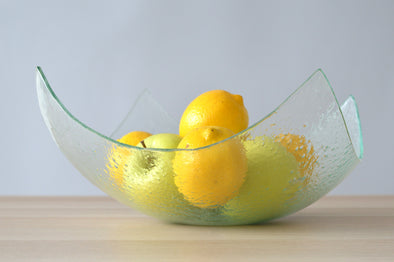 Modern Minimalist Fused Glass Fruit Bowl. Centerpiece Salad Bowl. Designer Fruit-Bowl XXL