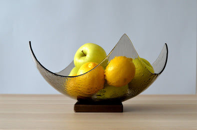 Modern Minimalist Fused Glass Fruit Bowl. Bronze Fruit-Bowl on a Metal Stand XXL