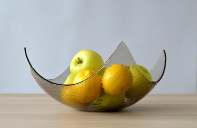 Modern Bronze Minimalist Fused Glass Fruit Bowl. Centerpiece Bowl. Designer Fruit-Bowl XXL