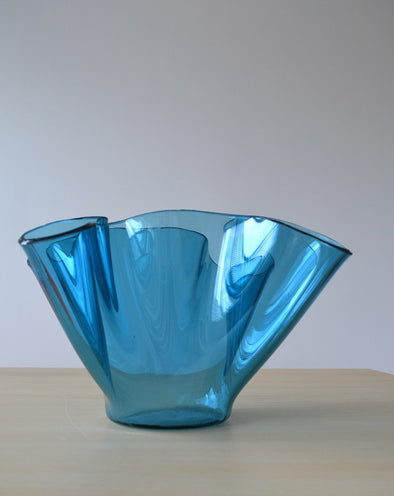 Modern Minimalist Blue Fused Glass Vase. Handkerchief Glass Vase. Centerpiece Vase